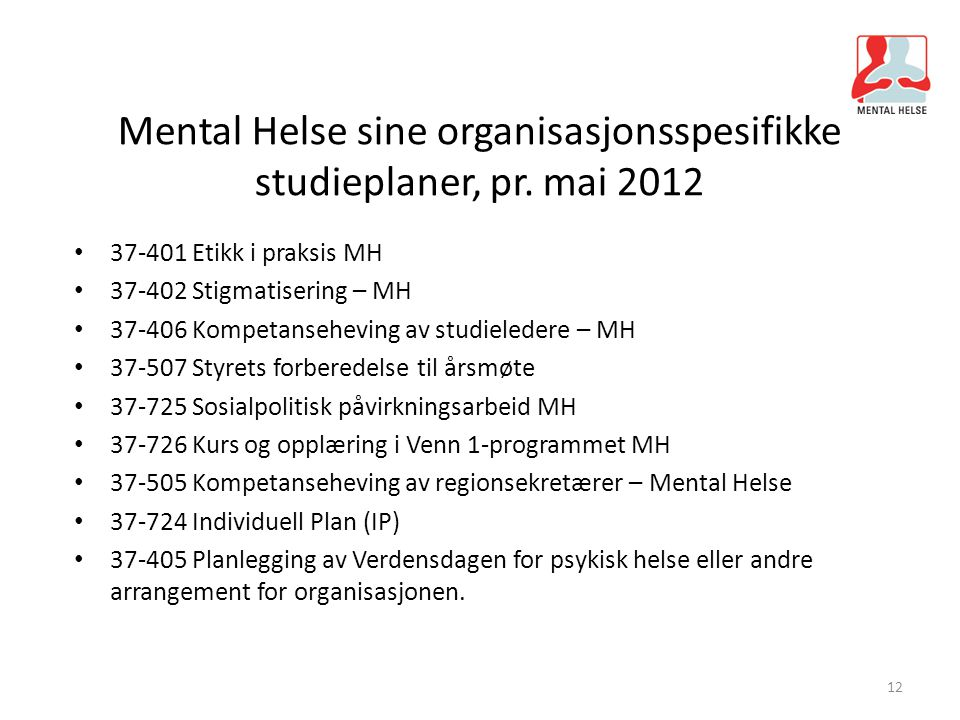 Mental Helse sine organisasjonsspesifikke studieplaner, pr. mai 2012 37-401 Etikk i praksis MH 37-402 Stigmatisering – MH 37-406 Kompetanseheving av s