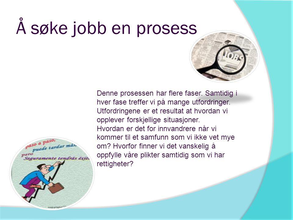 Å søke jobb en prosess Denne prosessen har flere faser. Samtidig i hver fase treffer vi på mange utfordringer. Utfordringene er et resultat at hvordan