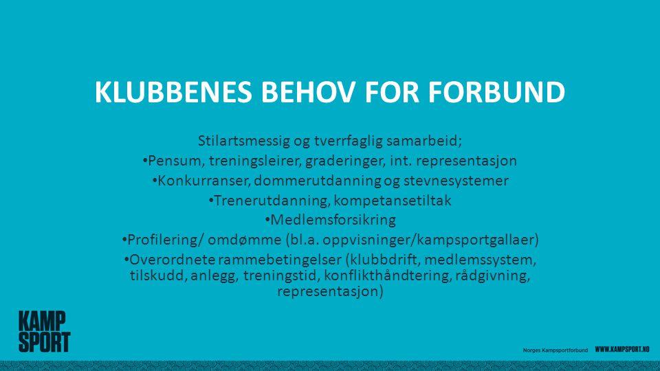 KLUBBENES BEHOV FOR FORBUND Stilartsmessig og tverrfaglig samarbeid; Pensum, treningsleirer, graderinger, int.
