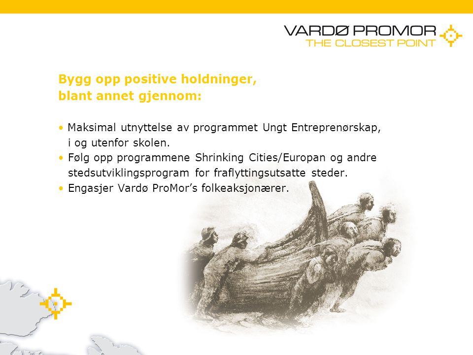 11/21/20143 Bygg opp positive holdninger, blant annet gjennom: Maksimal utnyttelse av programmet Ungt Entreprenørskap, i og utenfor skolen.Følg opp programmene Shrinking Cities/Europan og andre stedsutviklingsprogram for fraflyttingsutsatte steder.Engasjer Vardø ProMor's folkeaksjonærer.