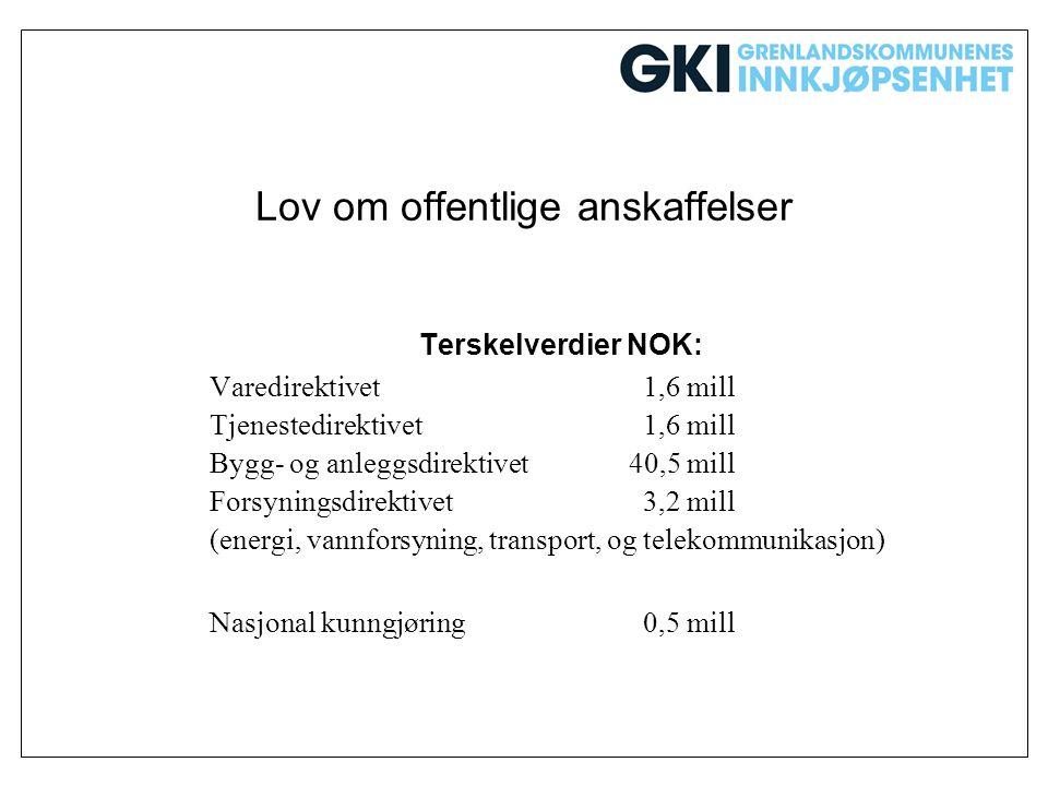 Lov om offentlige anskaffelser Terskelverdier NOK: Varedirektivet 1,6 mill Tjenestedirektivet 1,6 mill Bygg- og anleggsdirektivet40,5 mill Forsyningsd