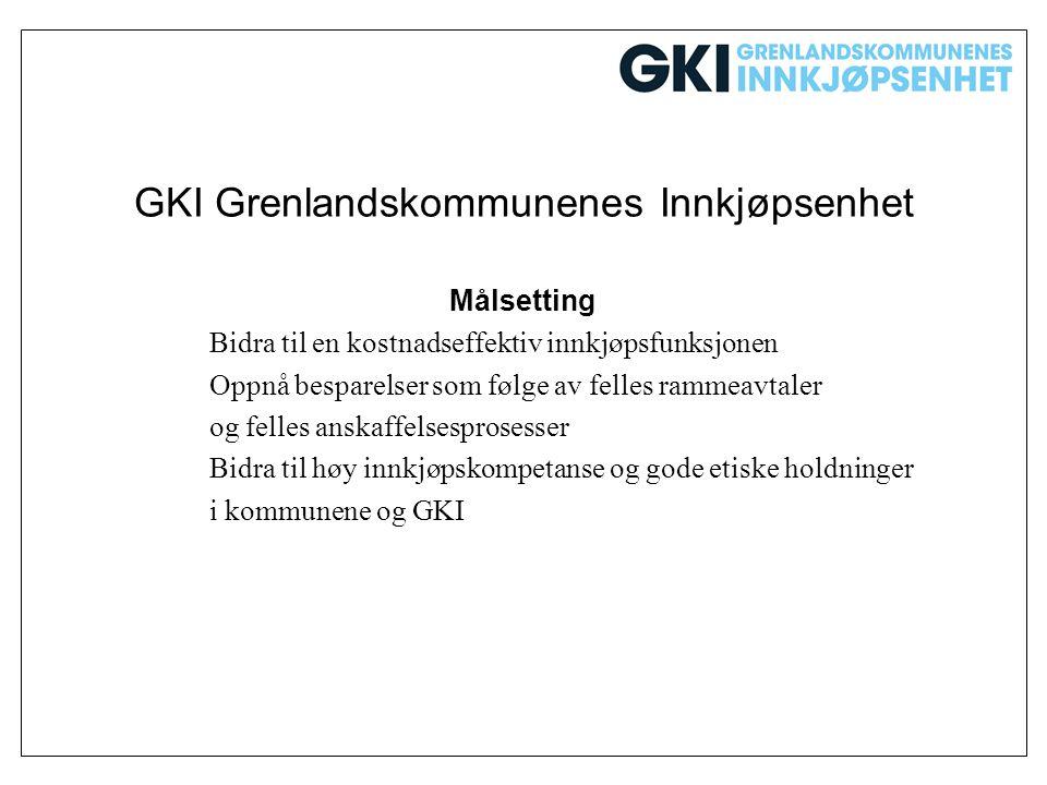GKI Grenlandskommunenes Innkjøpsenhet Målsetting Bidra til en kostnadseffektiv innkjøpsfunksjonen Oppnå besparelser som følge av felles rammeavtaler o