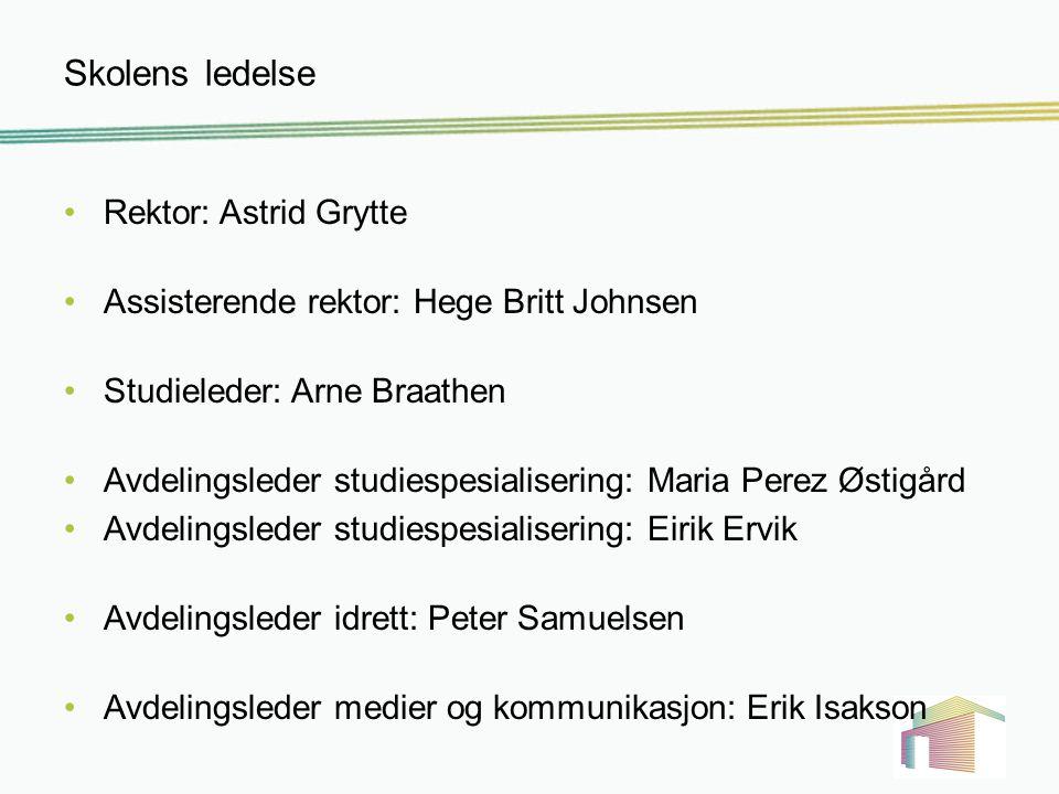 Skolens ledelse Rektor: Astrid Grytte Assisterende rektor: Hege Britt Johnsen Studieleder: Arne Braathen Avdelingsleder studiespesialisering: Maria Pe