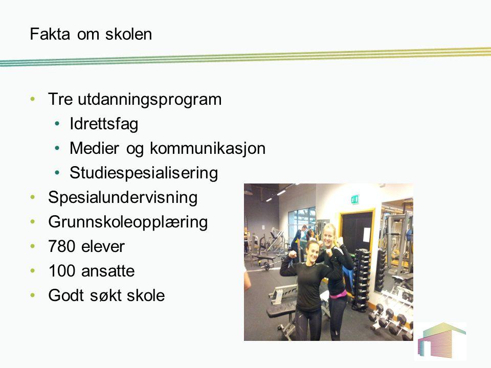 Fakta om skolen Tre utdanningsprogram Idrettsfag Medier og kommunikasjon Studiespesialisering Spesialundervisning Grunnskoleopplæring 780 elever 100 a