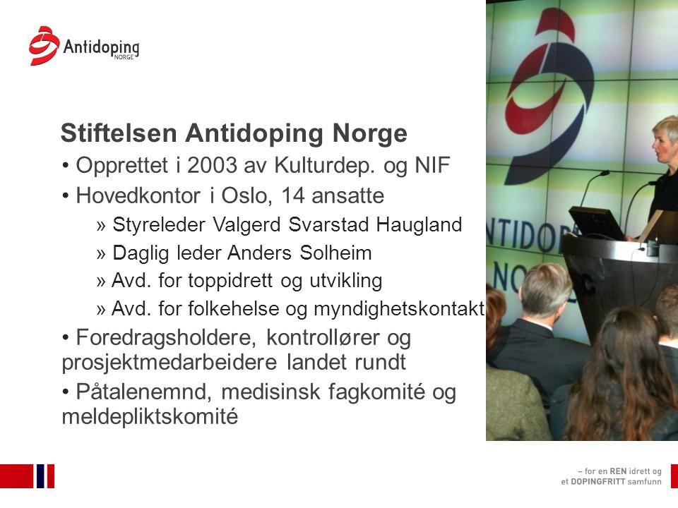 Stiftelsen Antidoping Norge Opprettet i 2003 av Kulturdep.
