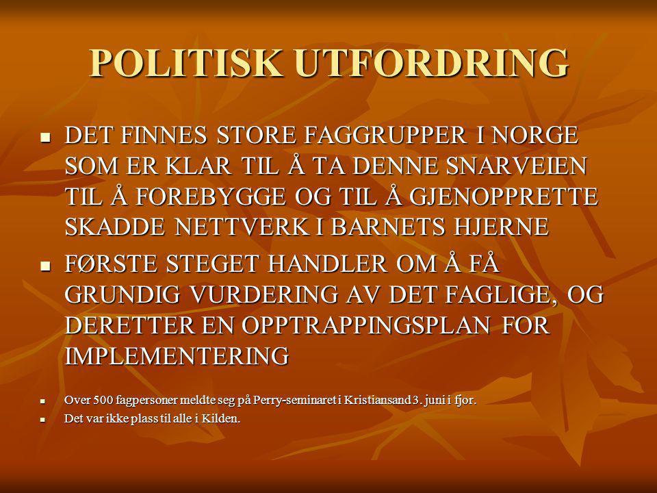 POLITISK UTFORDRING DET FINNES STORE FAGGRUPPER I NORGE SOM ER KLAR TIL Å TA DENNE SNARVEIEN TIL Å FOREBYGGE OG TIL Å GJENOPPRETTE SKADDE NETTVERK I B