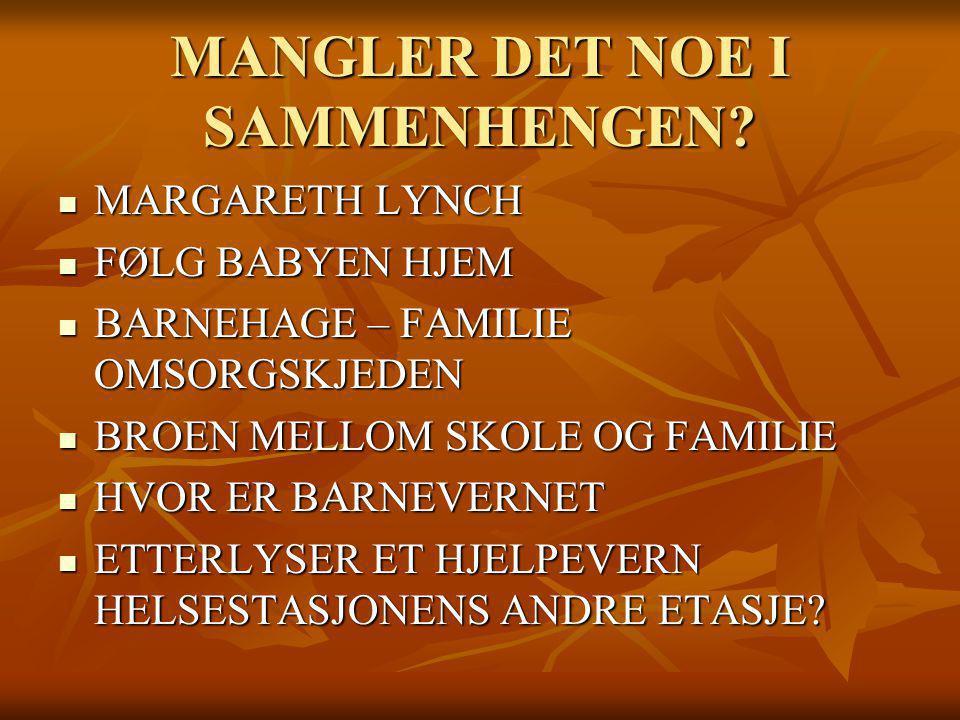 MANGLER DET NOE I SAMMENHENGEN? MARGARETH LYNCH MARGARETH LYNCH FØLG BABYEN HJEM FØLG BABYEN HJEM BARNEHAGE – FAMILIE OMSORGSKJEDEN BARNEHAGE – FAMILI