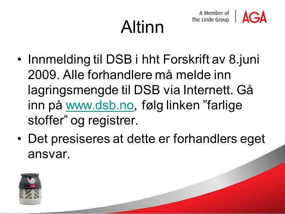 Altinn Innmelding til DSB i hht Forskrift av 8.juni 2009.