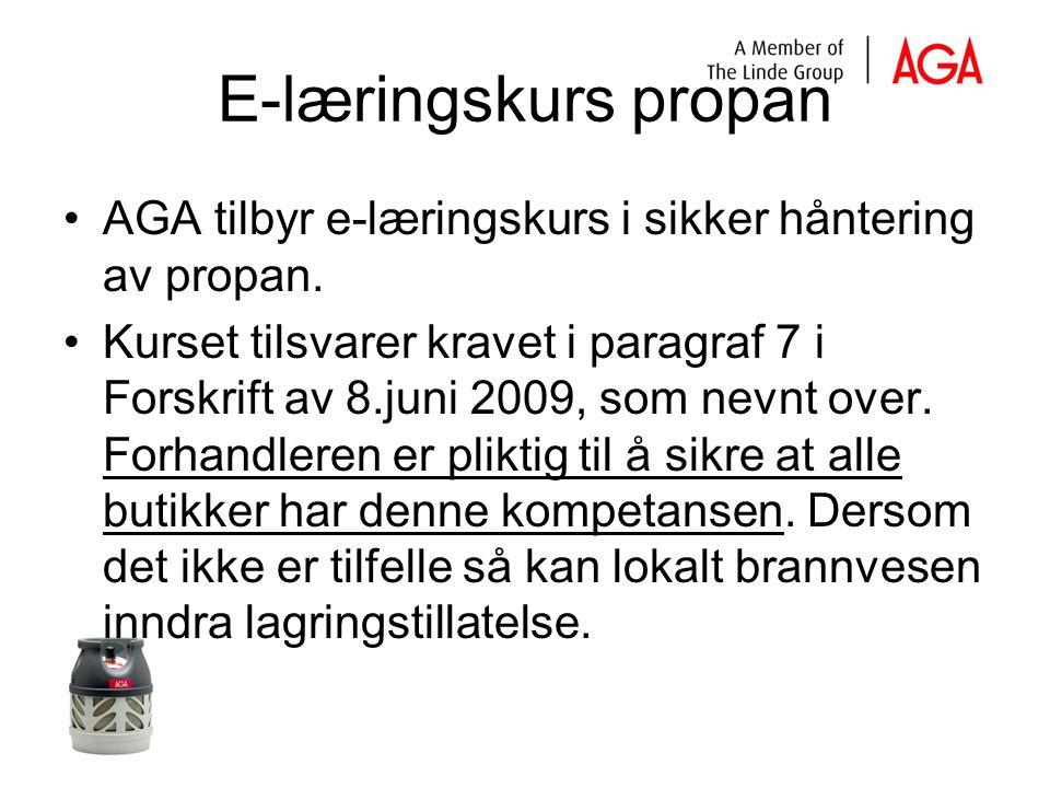 E-læringskurs propan AGA tilbyr e-læringskurs i sikker håntering av propan.