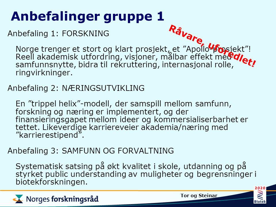 """Anbefaling 1: FORSKNING Norge trenger et stort og klart prosjekt, et """"Apollo-prosjekt""""! Reell akademisk utfordring, visjoner, målbar effekt med samfun"""