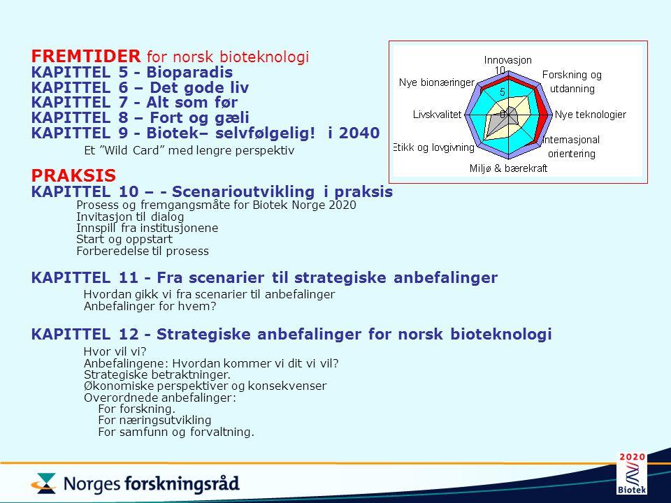 FREMTIDER for norsk bioteknologi KAPITTEL 5 - Bioparadis KAPITTEL 6 – Det gode liv KAPITTEL 7 - Alt som før KAPITTEL 8 – Fort og gæli KAPITTEL 9 - Bio