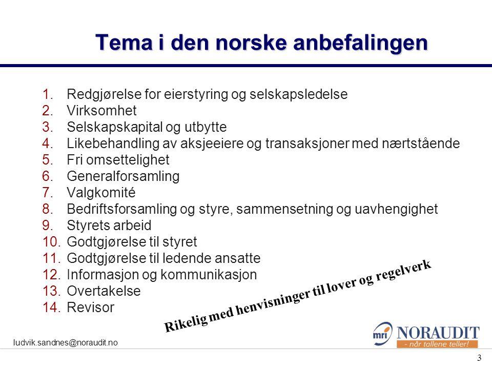 3 ludvik.sandnes@noraudit.no Tema i den norske anbefalingen 1.Redgjørelse for eierstyring og selskapsledelse 2.Virksomhet 3.Selskapskapital og utbytte