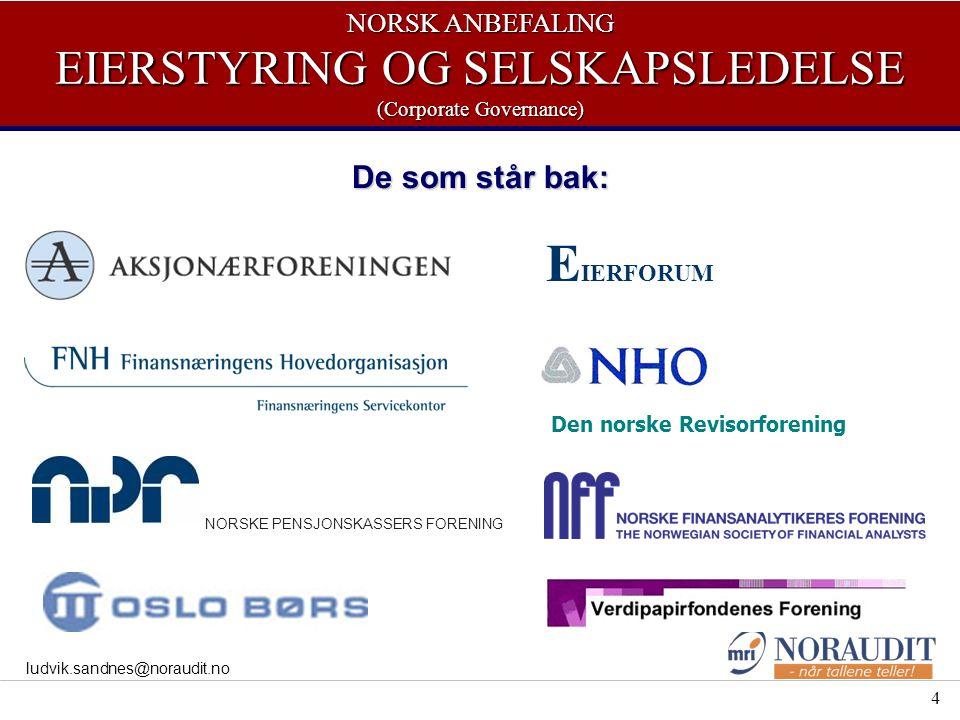 4 ludvik.sandnes@noraudit.no De som står bak: E IERFORUM NORSKE PENSJONSKASSERS FORENING NORSK ANBEFALING EIERSTYRING OG SELSKAPSLEDELSE (Corporate Governance) Den norske Revisorforening