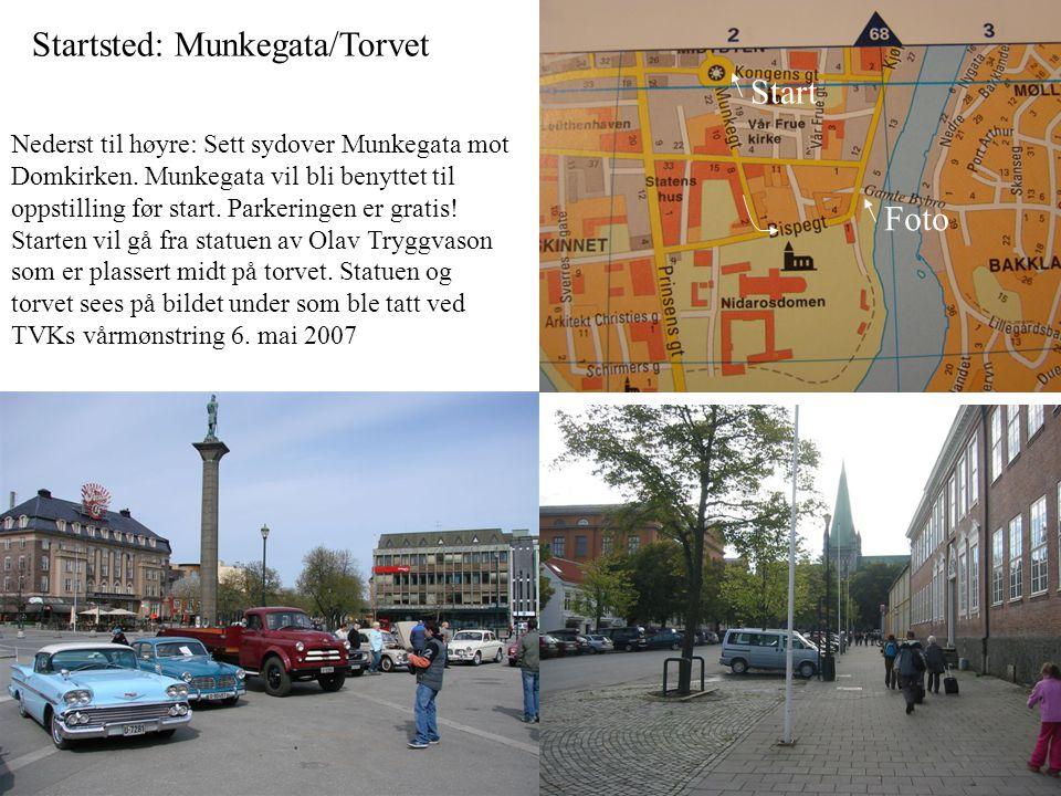 Startsted: Munkegata/Torvet Nederst til høyre: Sett sydover Munkegata mot Domkirken.