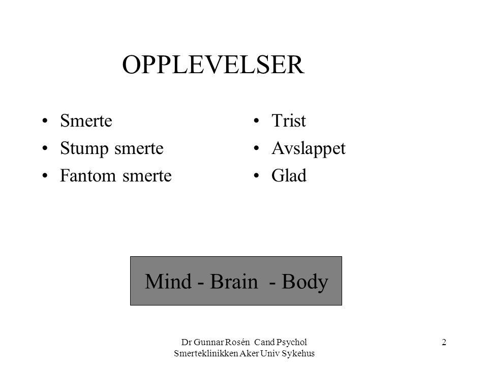 Dr Gunnar Rosén Cand Psychol Smerteklinikken Aker Univ Sykehus 2 OPPLEVELSER Smerte Stump smerte Fantom smerte Mind - Brain - Body Trist Avslappet Gla