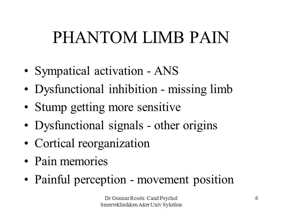 Dr Gunnar Rosén Cand Psychol Smerteklinikken Aker Univ Sykehus 6 PHANTOM LIMB PAIN Sympatical activation - ANS Dysfunctional inhibition - missing limb