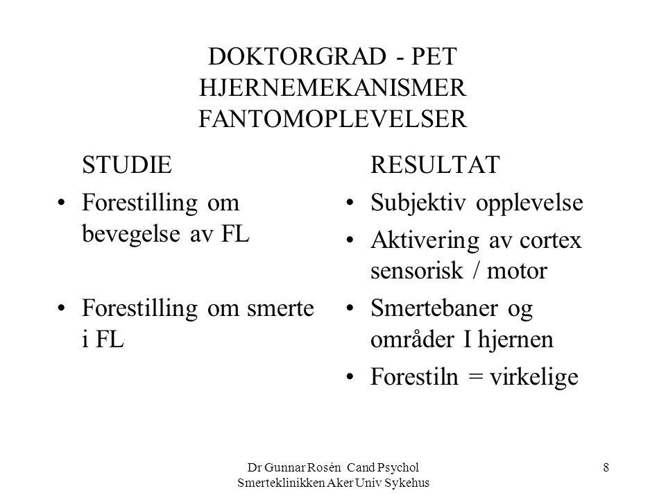 Dr Gunnar Rosén Cand Psychol Smerteklinikken Aker Univ Sykehus 8 DOKTORGRAD - PET HJERNEMEKANISMER FANTOMOPLEVELSER STUDIE Forestilling om bevegelse a