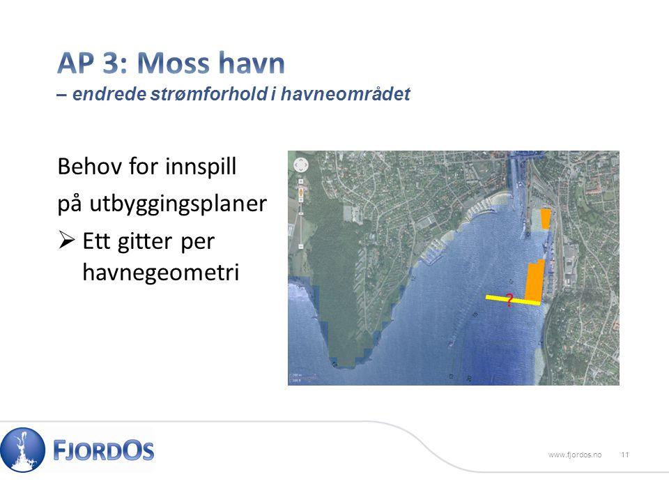 Behov for innspill på utbyggingsplaner  Ett gitter per havnegeometri 11www.fjordos.no