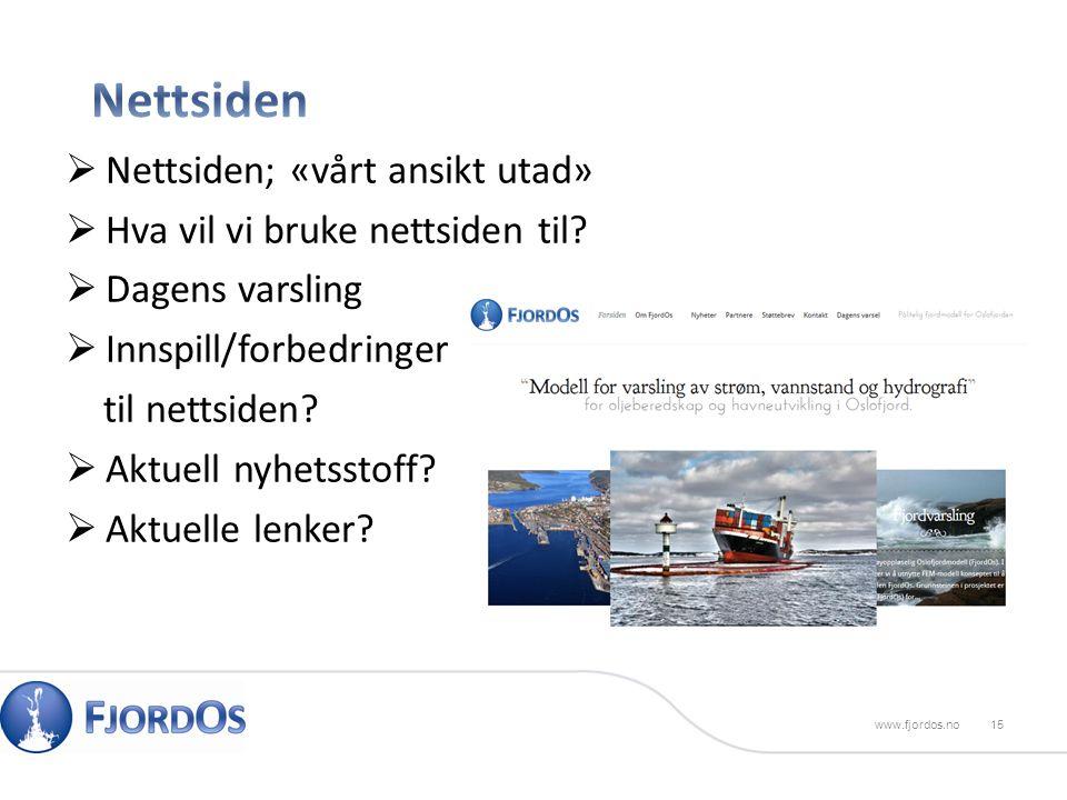 15www.fjordos.no  Nettsiden; «vårt ansikt utad»  Hva vil vi bruke nettsiden til.