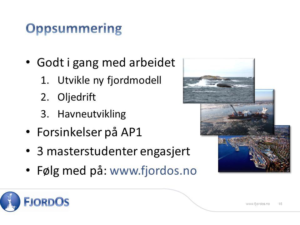 Godt i gang med arbeidet 1.Utvikle ny fjordmodell 2.Oljedrift 3.Havneutvikling Forsinkelser på AP1 3 masterstudenter engasjert Følg med på: www.fjordos.no 16 www.fjordos.no
