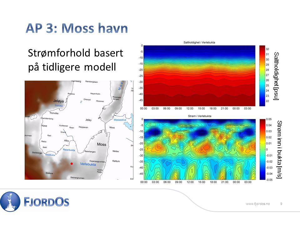 9www.fjordos.no Saltholdighet [psu] Strøm inn i bukta [m/s] Strømforhold basert på tidligere modell