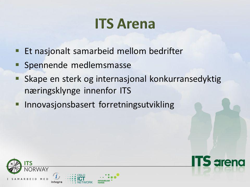 Et nasjonalt samarbeid mellom bedrifter  Spennende medlemsmasse  Skape en sterk og internasjonal konkurransedyktig næringsklynge innenfor ITS  Innovasjonsbasert forretningsutvikling