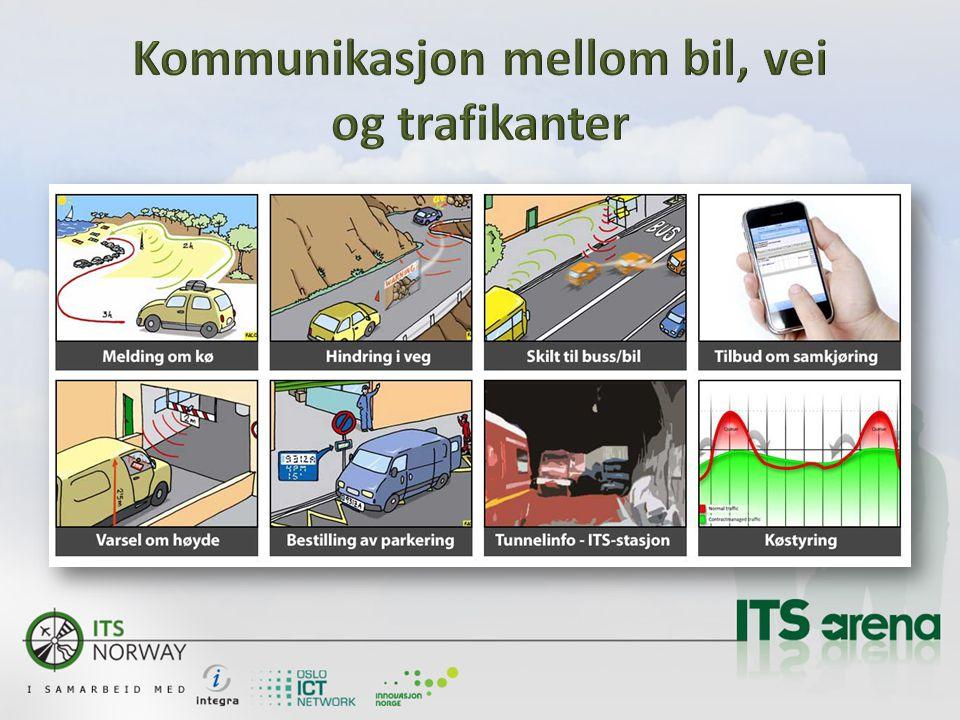  Utvikle et smartere transportsystem for å redusere kø, utslipp og ulykker  Øke/optimalisere bruk av transportkapasiteten for person- og godstransport  Bidra til nye økonomiske og politiske incitamenter  Lage nye forretningsmodeller, som ivaretar en grønn økonomi  Utvikle avanserte trafikk kontroll systemer, som bidrar til å informere og styre intelligente kjøretøy  Gi trafikantene prognoser og sanntidsinformasjon om de transportalternativer som finnes  Planlegge og etablere testarenaer sammen med Statens vegvesen i første omgang  Være markedsorientert