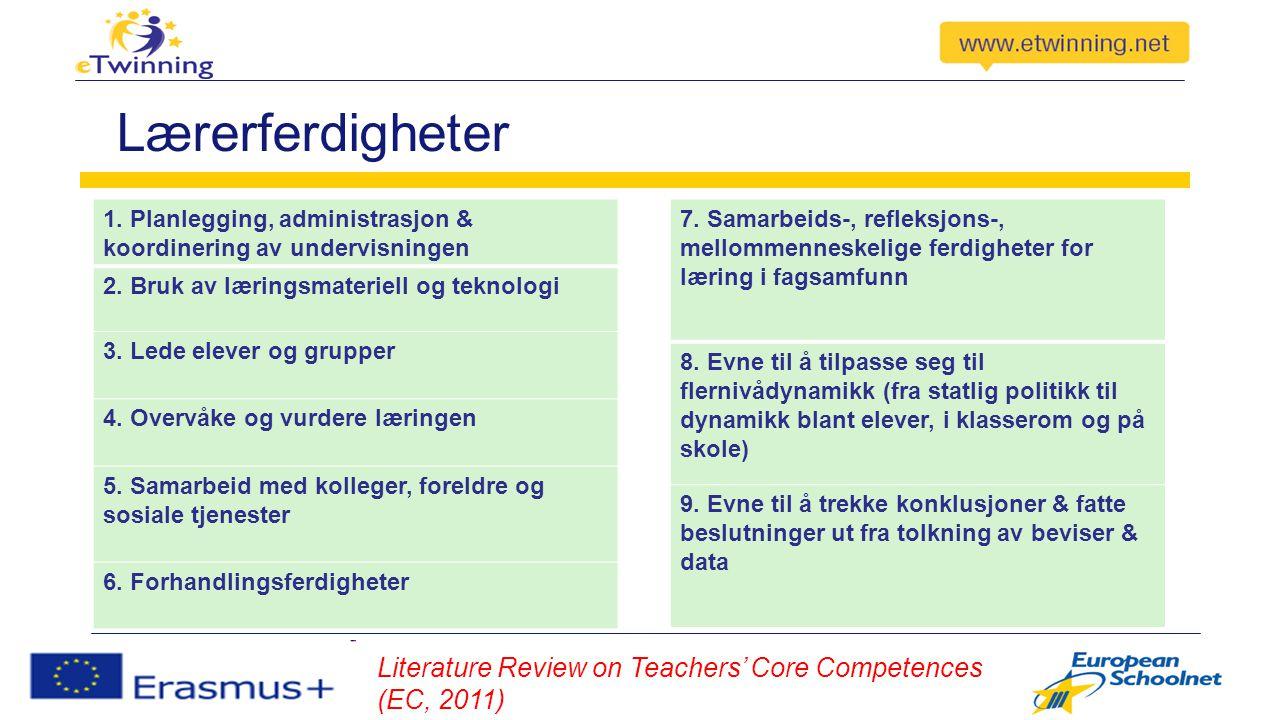 Lærerferdigheter 1. Planlegging, administrasjon & koordinering av undervisningen 2.