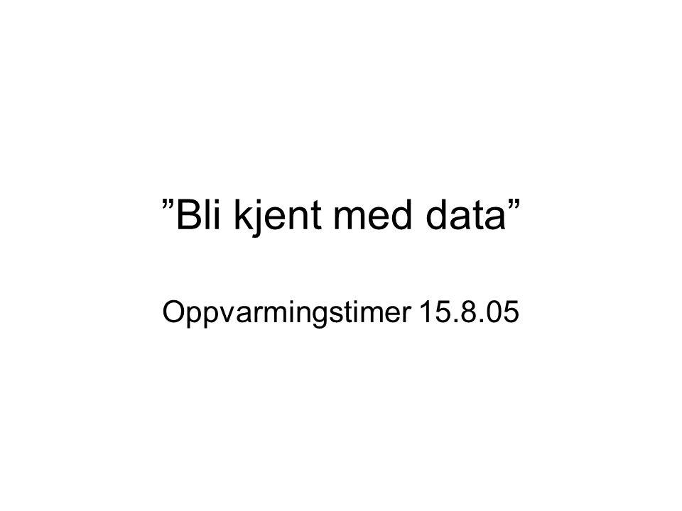 """""""Bli kjent med data"""" Oppvarmingstimer 15.8.05"""