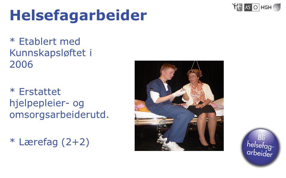 Helsefagarbeider * Etablert med Kunnskapsløftet i 2006 * Erstattet hjelpepleier- og omsorgsarbeiderutd. * Lærefag (2+2)
