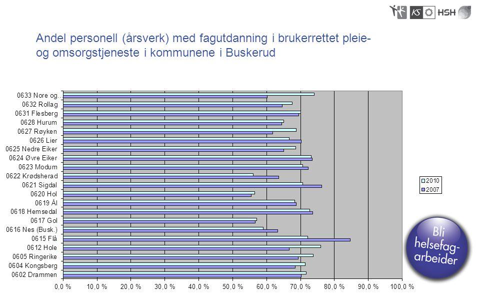 Andel personell (årsverk) med fagutdanning i brukerrettet pleie- og omsorgstjeneste i kommunene i Buskerud