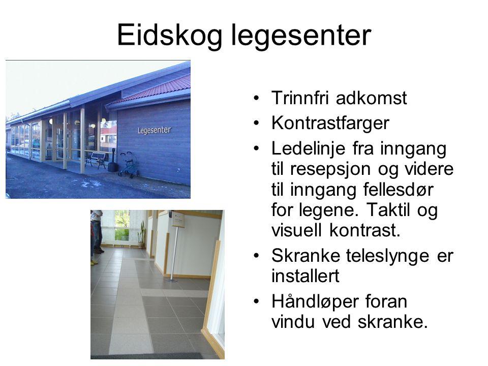 Eidskog legesenter Trinnfri adkomst Kontrastfarger Ledelinje fra inngang til resepsjon og videre til inngang fellesdør for legene.