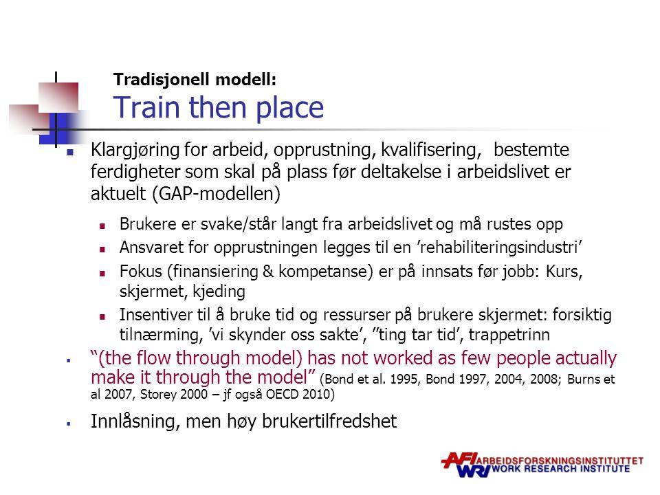 Tradisjonell modell: Train then place Klargjøring for arbeid, opprustning, kvalifisering, bestemte ferdigheter som skal på plass før deltakelse i arbe