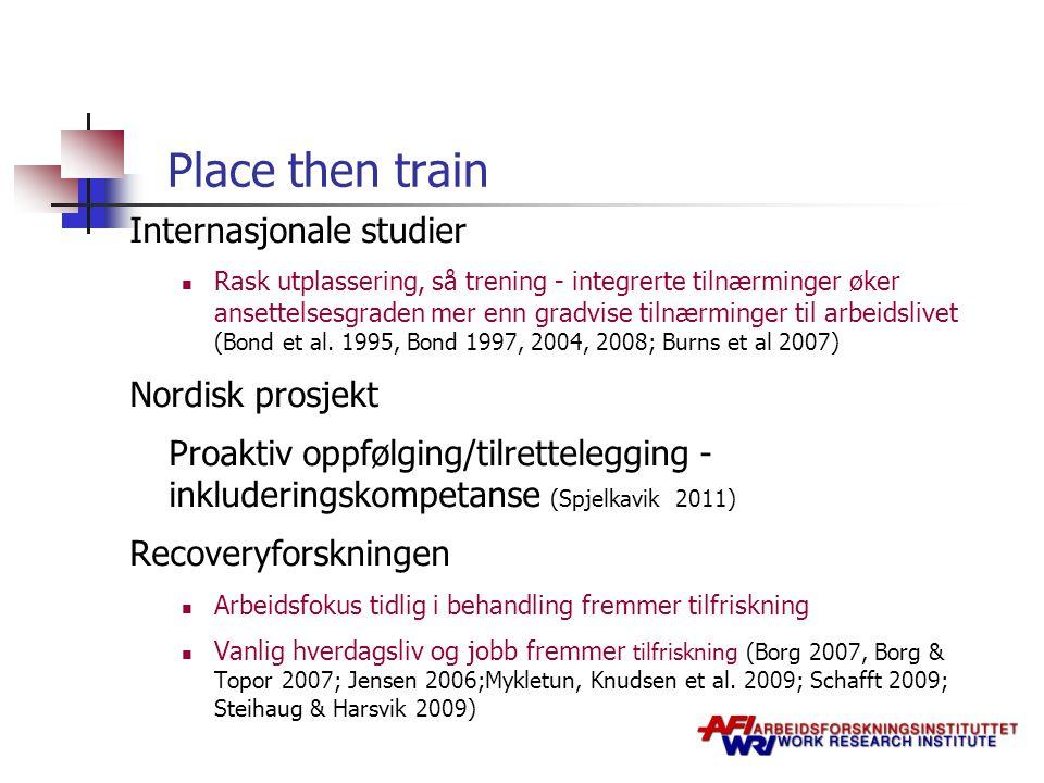 Place then train Internasjonale studier Rask utplassering, så trening - integrerte tilnærminger øker ansettelsesgraden mer enn gradvise tilnærminger t