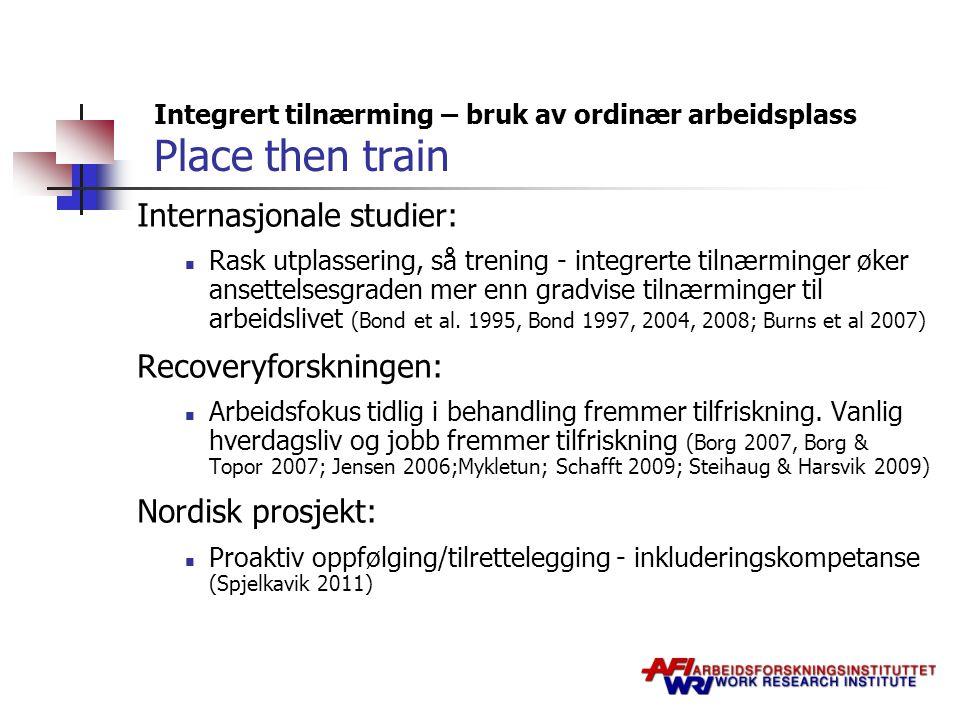 Integrert tilnærming – bruk av ordinær arbeidsplass Place then train Internasjonale studier: Rask utplassering, så trening - integrerte tilnærminger ø