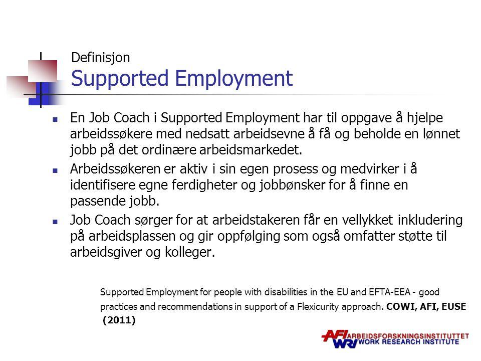 Definisjon Supported Employment En Job Coach i Supported Employment har til oppgave å hjelpe arbeidssøkere med nedsatt arbeidsevne å få og beholde en