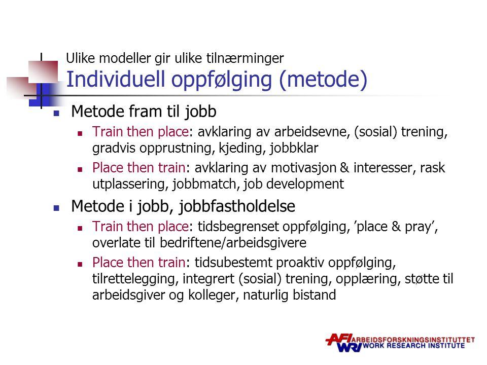 Ulike modeller gir ulike tilnærminger Individuell oppfølging (metode) Metode fram til jobb Train then place: avklaring av arbeidsevne, (sosial) trenin