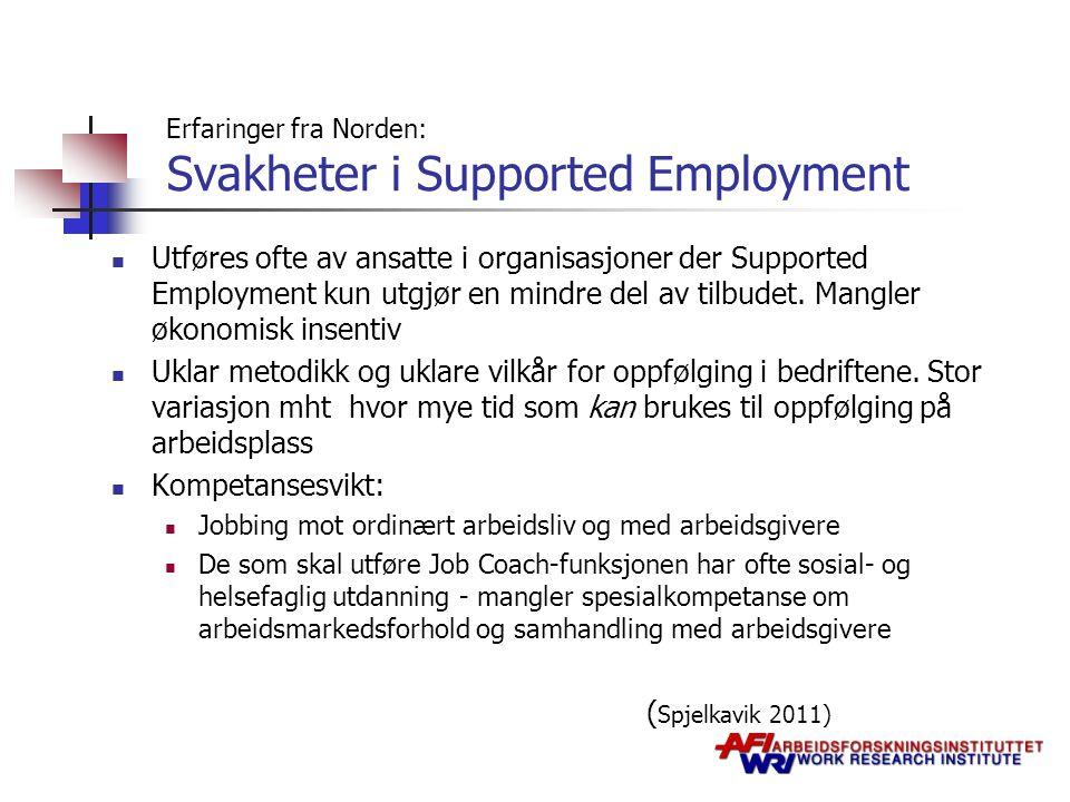 Erfaringer fra Norden: Svakheter i Supported Employment Utføres ofte av ansatte i organisasjoner der Supported Employment kun utgjør en mindre del av