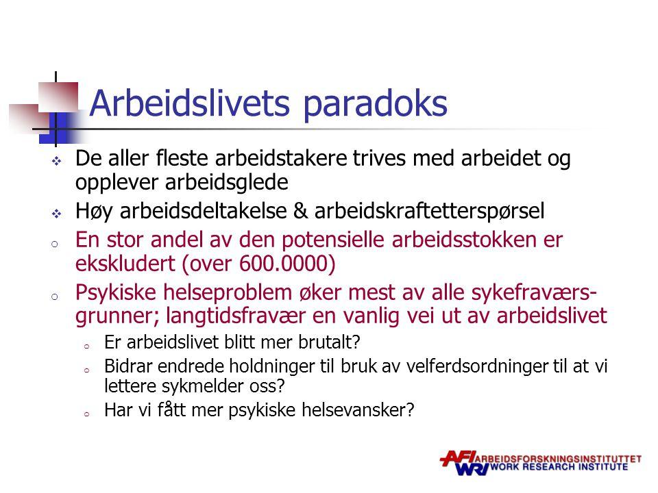 Arbeidslivets paradoks  De aller fleste arbeidstakere trives med arbeidet og opplever arbeidsglede  Høy arbeidsdeltakelse & arbeidskraftetterspørsel