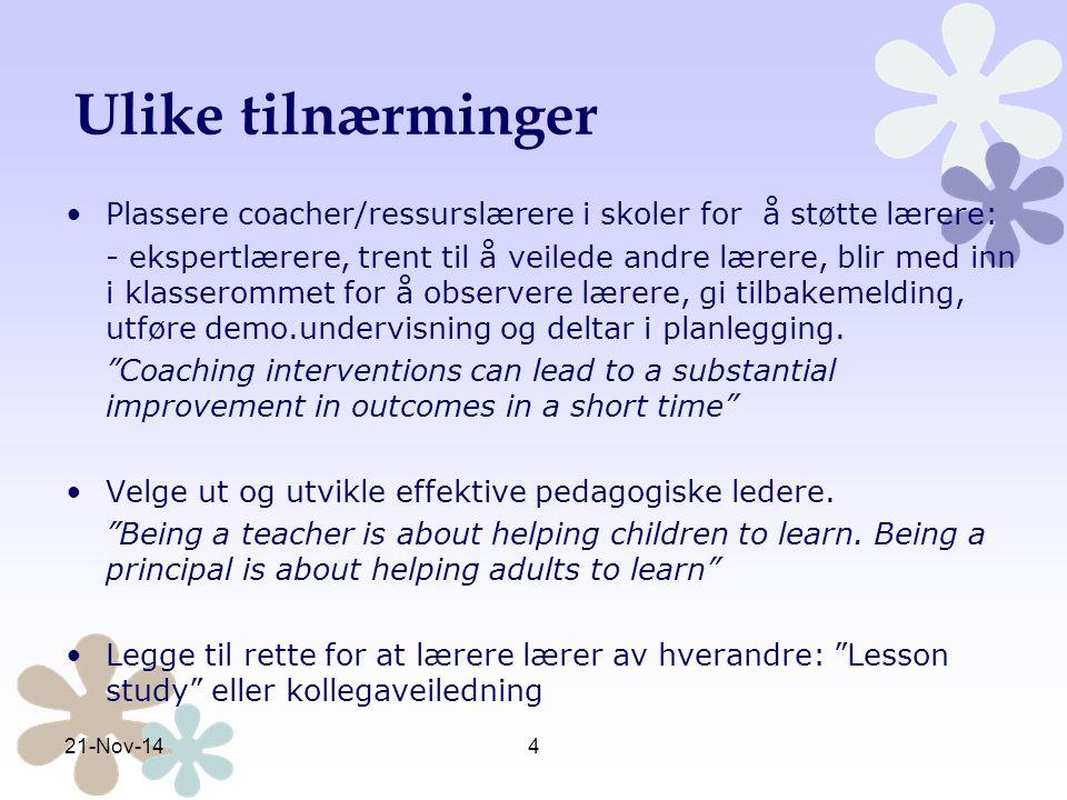 Endring av matematikk- undervisning er komplisert På tross av mye satsing på etterutdanning i matematikk for lærere, ser en ikke alltid tydelige resultater i undervisningen (Alseth, Breiteig, & Brekke, 2003), (Stigler & Hiebert, 1999), (Bergem, 2009), (Boaler, 1998), (Skott, 2009).Alseth, Breiteig, & Brekke, 2003Stigler & Hiebert, 1999Bergem, 2009Boaler, 1998Skott, 2009 Ressurslærermodellen gir større mulighet for å lykkes, dvs at lærerne vil utvikle sin matematikkundervisning slik at den i større grad er i tråd med nyere forskning.