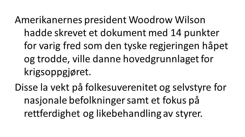 Amerikanernes president Woodrow Wilson hadde skrevet et dokument med 14 punkter for varig fred som den tyske regjeringen håpet og trodde, ville danne hovedgrunnlaget for krigsoppgjøret.