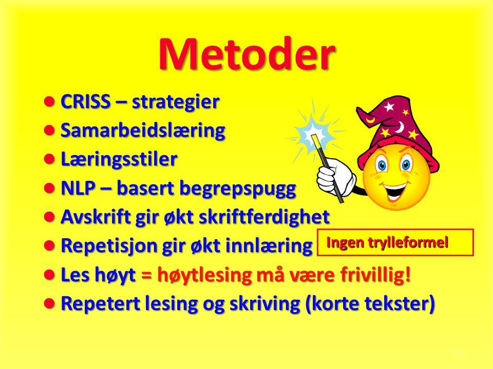 21 Metoder ● CRISS – strategier ● Samarbeidslæring ● Læringsstiler ● NLP – basert begrepspugg ● Avskrift gir økt skriftferdighet ● Repetisjon gir økt