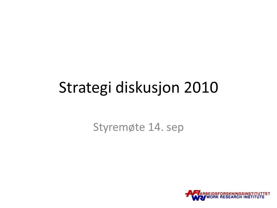 Strategi diskusjon 2010 Styremøte 14. sep