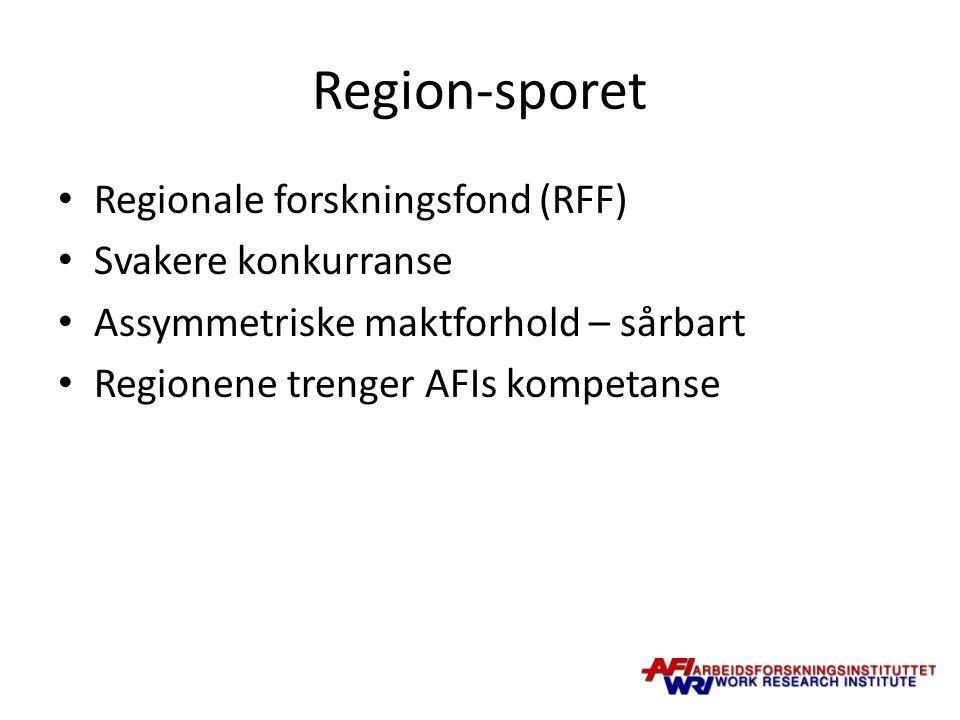 Region-sporet Regionale forskningsfond (RFF) Svakere konkurranse Assymmetriske maktforhold – sårbart Regionene trenger AFIs kompetanse