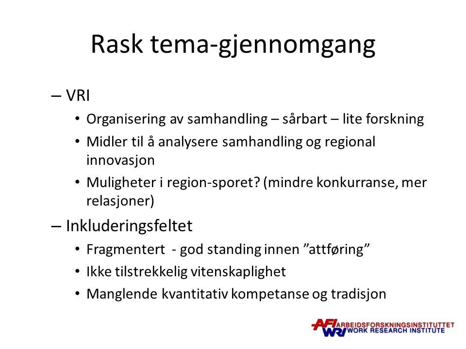 Rask tema-gjennomgang – VRI Organisering av samhandling – sårbart – lite forskning Midler til å analysere samhandling og regional innovasjon Muligheter i region-sporet.