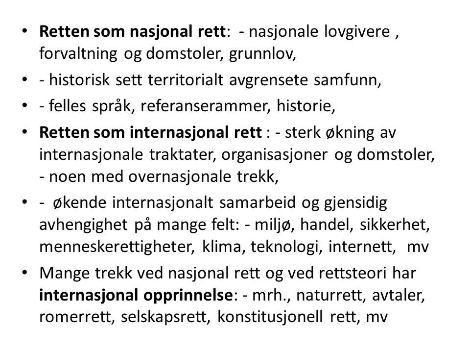 Retten som nasjonal rett: - nasjonale lovgivere, forvaltning og domstoler, grunnlov, - historisk sett territorialt avgrensete samfunn, - felles språk,