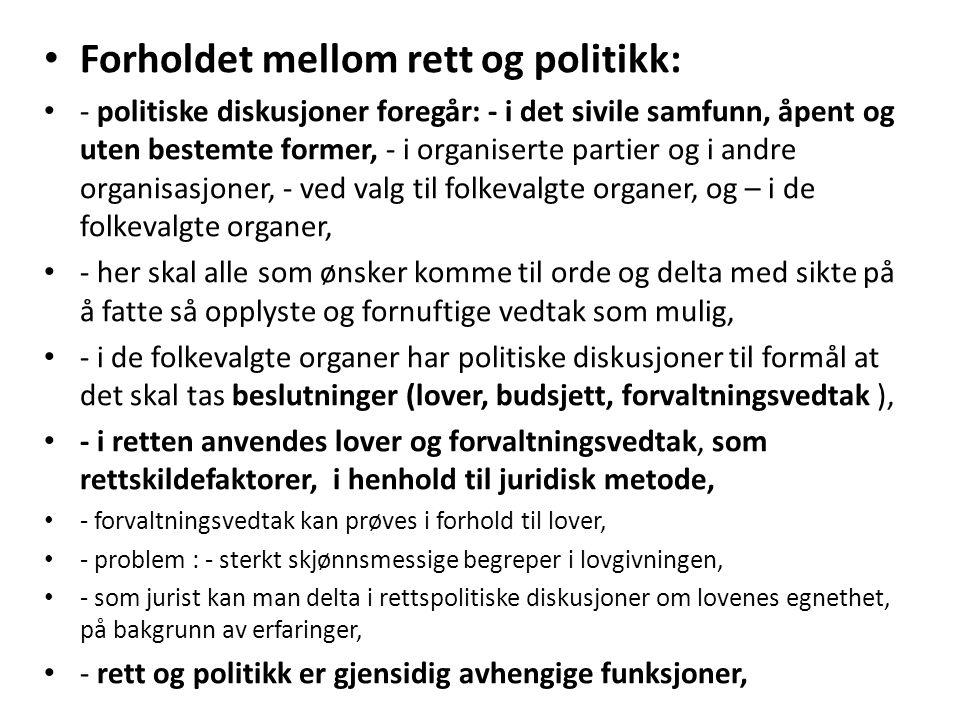Forholdet mellom rett og politikk: - politiske diskusjoner foregår: - i det sivile samfunn, åpent og uten bestemte former, - i organiserte partier og
