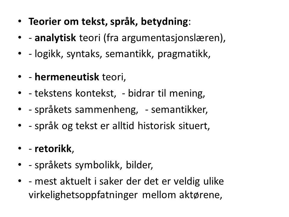 Teorier om tekst, språk, betydning: - analytisk teori (fra argumentasjonslæren), - logikk, syntaks, semantikk, pragmatikk, - hermeneutisk teori, - tek