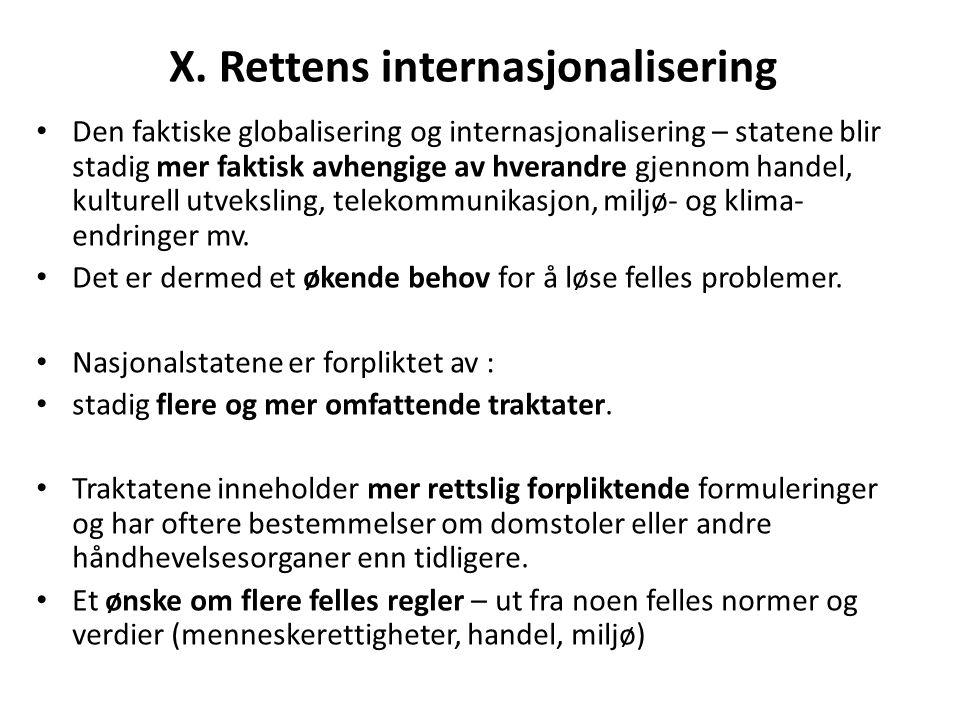 X. Rettens internasjonalisering Den faktiske globalisering og internasjonalisering – statene blir stadig mer faktisk avhengige av hverandre gjennom ha