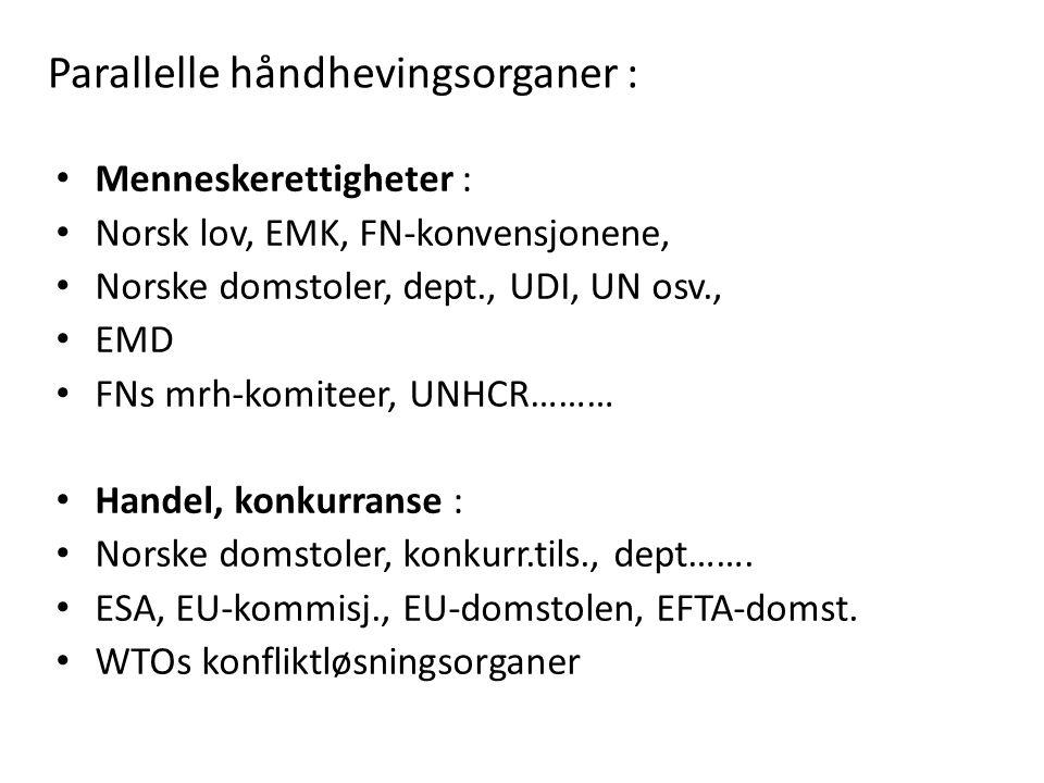 Parallelle håndhevingsorganer : Menneskerettigheter : Norsk lov, EMK, FN-konvensjonene, Norske domstoler, dept., UDI, UN osv., EMD FNs mrh-komiteer, U